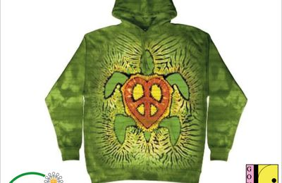 Sweat-shirt à capuche personnalisé Big Animal - Tortue Rasta