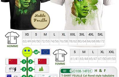 T-shirt pré-imprimé feuille avec marquage personnalisé - GO108-14F01