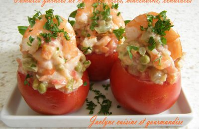 Tomates garnies de crevettes roses, macédoine de légumes, échalotes *Simple Rapide Délicieux*