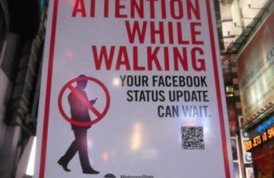 Pay attention while walking your facebook status can wait