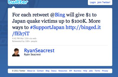 Bing + support Japan with $1 tweet donation #fail