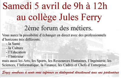FORUM DES METIERS AU COLLEGE JULES FERRY DE JOINVILLE
