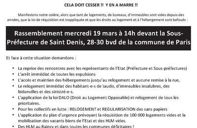Rassemblement Droit au logement à Saint-Denis le 19 mars