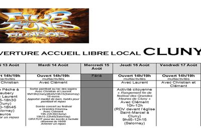 Planning Club Cluny - du 13 au 17 AOUT
