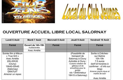 Planning Club Salornay - du 6 au 10 AOUT