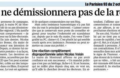 Suite aux déclarations de Patrice Bessac à la presse... Communiqué de Nicolas Voisin