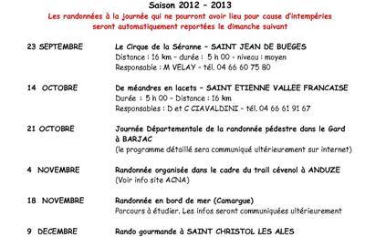 RANDONNEE 2012-2013