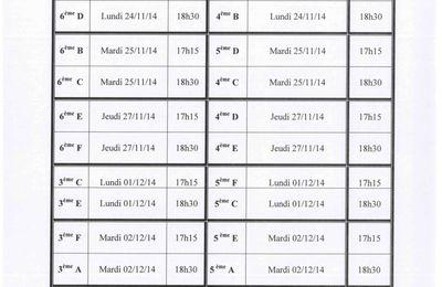 Les conseils de classe du 1er trimestre (24/11 au 4/12)