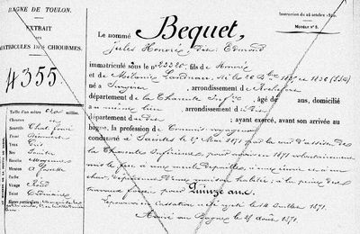 Dossier de Bagne de Jules Honoré Béquet
