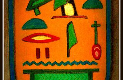 Cartouche de la Reine NEFERTARY - Dessin aux crayons pastels