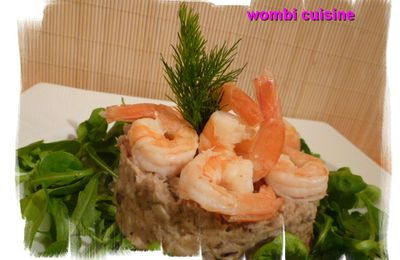 Purée de châtaignes aux champignons et ses crevettes