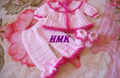 """ensemble bébé rose""""brassière,pantalon et chausson"""""""