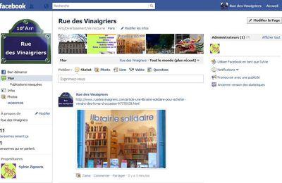 Savez-vous que la rue des Vinaigriers est sur Facebook ?