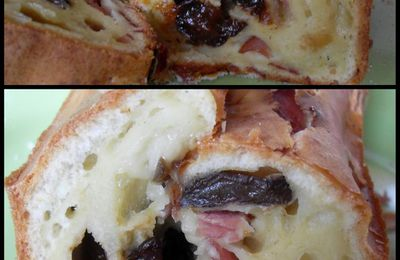 CAKE BACON/PRUNEAUX/ROQUEFORT/PIGNONS DE PIN