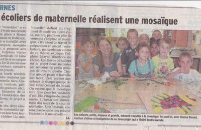 La création de la mosaïque à l'école maternelle dans le journal !!!