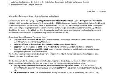 """Ged.Stiftg: Tagung """"Aspekte jüdischer Geschichte in Niedersachsen: Lager - Zwangsarbeit - Deportation 1938 bis 1945"""""""