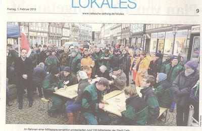 Cellesche Zeitung 31.1.13 -- Beschäftigte wehren sich gegen Privatisierungen der Stadt Celle