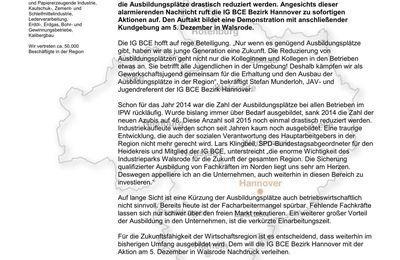 PM IG BCE 4.12.14 -- Demo in Walsrode 5.12.14 Erhalt der Ausbildungsplätze in Bomlitz
