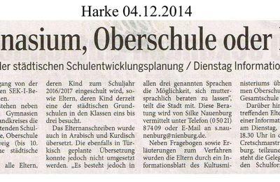 Harke 4.12.14 -- Nienburg: Elternbefragung - Gymnasium, Oberschule oder IGS?