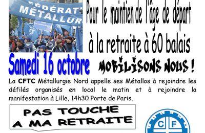 Manifestation des 16 et 19 Octobre à Lille pour la Défense des Retraites