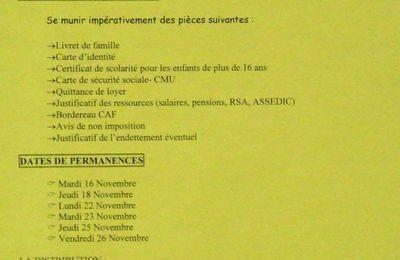 La première distribution des Restos du cœur aura lieu le mardi 30.11.2010 (Saint-Jean-d'Angély)