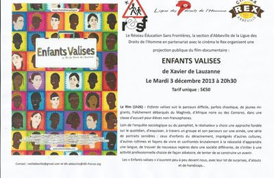 "Projection du film ""Enfants valises"" le 3 décembre au REX (Abbeville)"