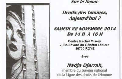 Droits des femmes aujourd'hui ? Conférence publique de la LDH à Roye (80)