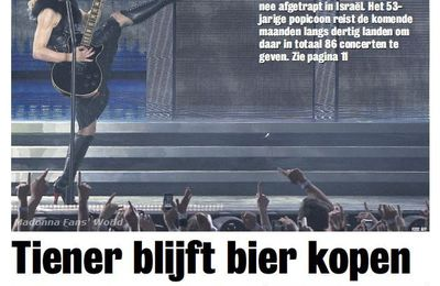 Madonna - MDNA Tour: On the cover of newspaper from Netherlands ''Spits''