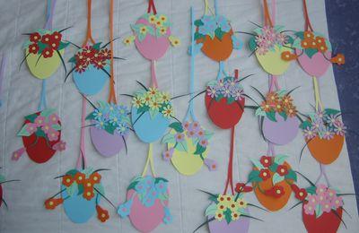décors oeufs de pâques fleuris