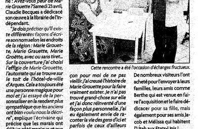 Une Marie Grouette, reine des marais (presse)