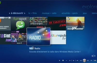 Lancement du plugin radio pour Windows Media Center