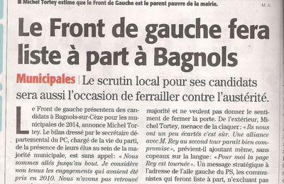 Bagnols sur Cèze : Le Front de Gauche présentera des candidats aux municipales de 2014