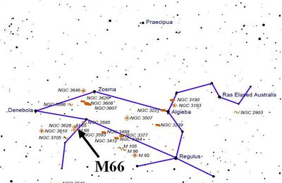 M66 dans la constellation du Lion