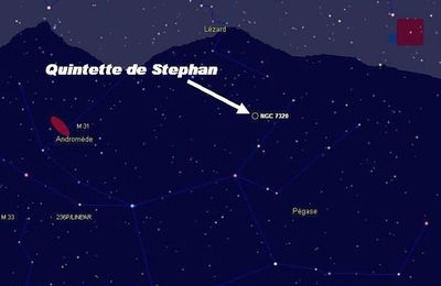 Le Quintette de Stephan, groupement de galaxies dans Pégase