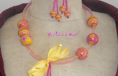 Parure Noeud rose/jaune /fushia