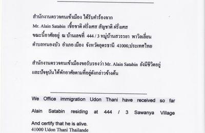 Obtenir un certicat de vie en Thaïlande.
