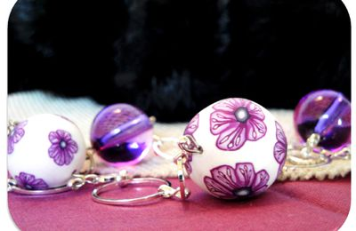 collier fimo blanc violet rose