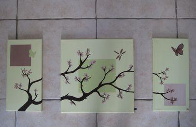 """Triptyque """"arbre grimpant"""" vert anis et taupe 40 x 80 cm"""