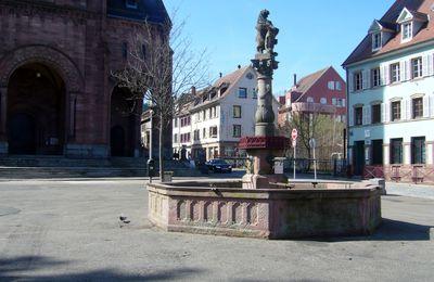 la place de l'église de Munster, sa fontaine et ses cigognes (Alsace - 68)