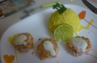 Boulettes de Saumon Noix de Coco et Riz au Safran