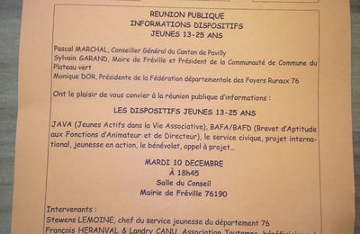Réunion Publique - Informations Dispositifs Jeunes 13-25 ans le 10 Décembre à Fréville