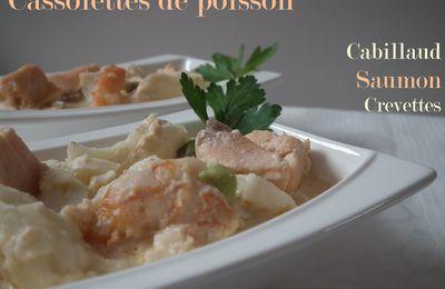 Cassolettes de poisson crémeuses: saumon, cabillaud et crevettes.