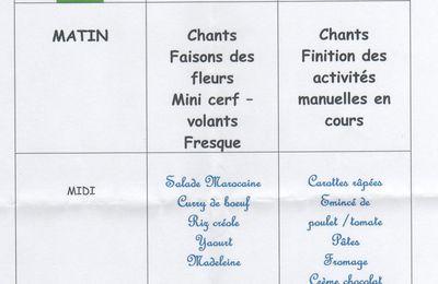 Programme et menu Garderie du mercredi: Avril 2013