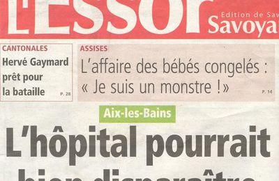 Quand l'Essor Savoyard fait le buzz en titrant sur la possible disparition de l'hôpital d'Aix les Bains