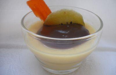 entremet ou panna cotta au lait d'amande et à la mangue et sa ganache au chocolat gingembre