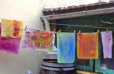 premiers essais d'impression en art textile