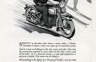 Harley-davidson Advertisements : Swifter THAN Skis! (Feb, 1932)