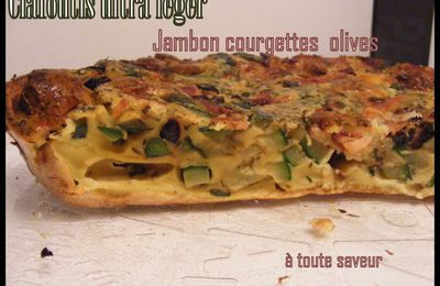 Clafoutis ultra léger jambon courgettes olives