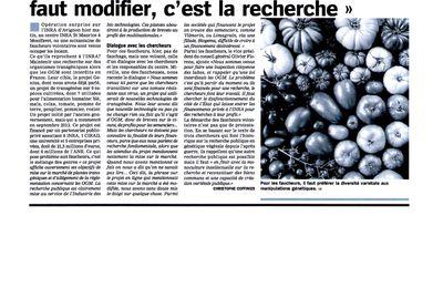 2 oct.2014 Action de faucheurs volontaires à l'INRA Avignon contre le projet Genius
