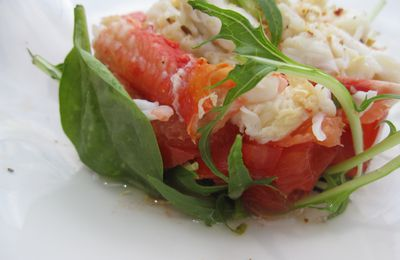 King crabe pamplemousse et tomates